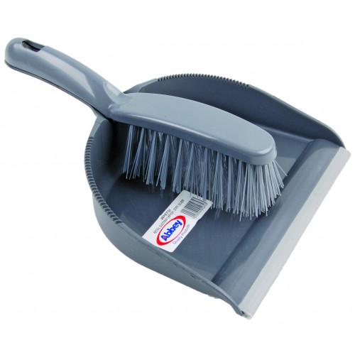 Silver Stiff Dustpan and Brush