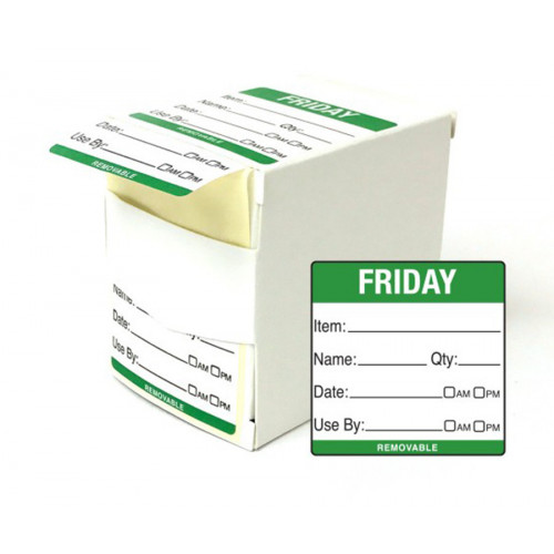 5cm Friday Day of the Week Labels