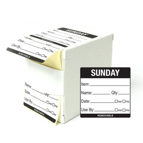 5cm Sunday Day of the Week Labels