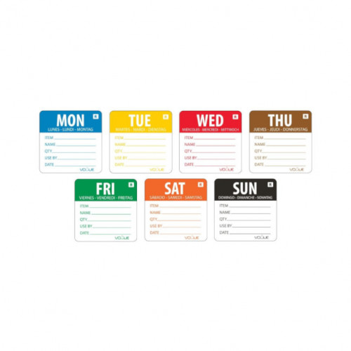 5cm Complete Set of Days of the Week Labels