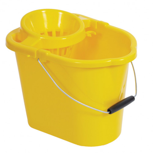 10L Yellow Plastic Mop Bucket