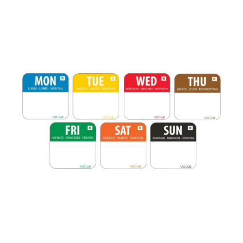 2.4cm Complete Set of Day of the Week Food Labels