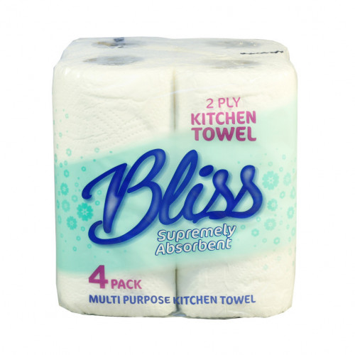 White Standard 2 Ply Kitchen Roll - Pack of 4