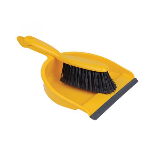 Yellow Soft Dustpan and Brush