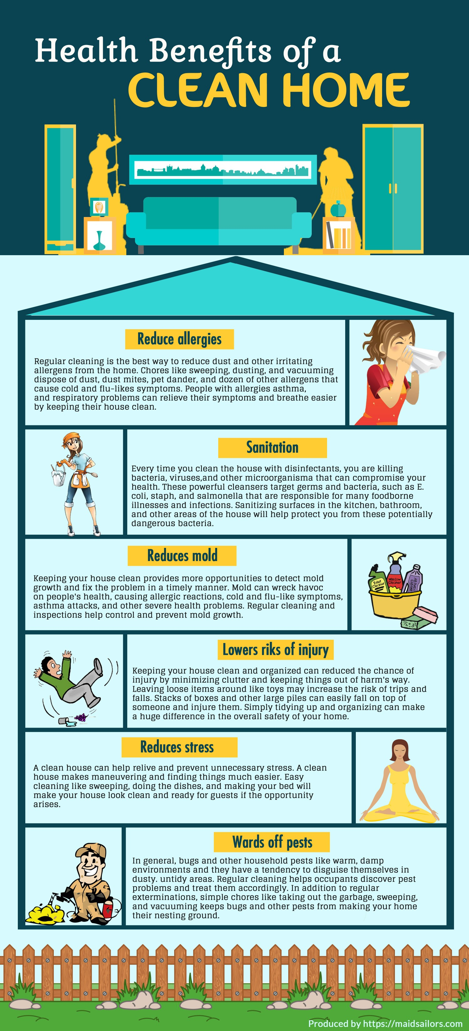 Health benefits of a clean home infographic