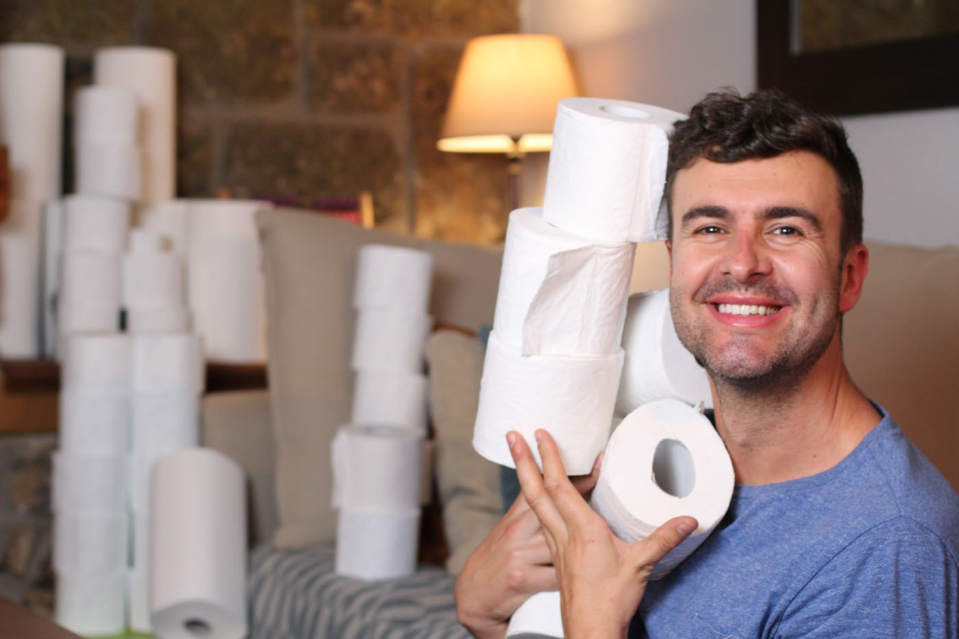 Happy to be surrounded by toilet roll